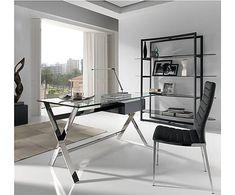 Mesa de escritorio en cristal templado y acero inoxidable Office