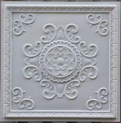 PL19 faux tin ceiling tiles white matt 3D embossed Photography