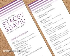 Wedding Program - Plum Ombre - DIY Editable Word Template Instant Download Printable Edit your text & Print at Home
