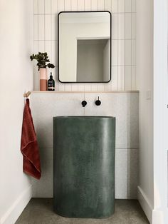 Searching for a luxe statement piece within your home? Our Tropez Basin shown here in Greenstone makes quite the hero piece within this beautiful powder room designed by Bathroom Styling, Small Bathroom, Bathroom Decor, Concrete, Concrete Basin, Sink Design, Powder Room Design, Basin, Bathroom