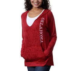 Oklahoma Sooners Womens Cozy V-Neck Pullover Hoodie - Crimson