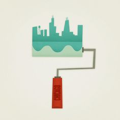 Series of illustrations featuring cities as paint rollers.