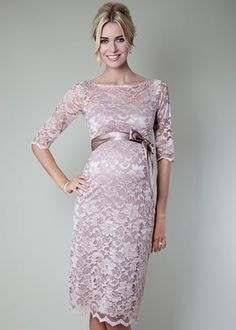 Maternity Lace Dress - If only it didn't have sleeves!   Amelia Lace Maternity Dress Short (Vintage Rose)