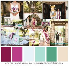 Plum, Mint and Neutral - Pale mint and jade green were simply added along with existing shades of plum, purple, pink and ivory.