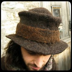 MADE to ORDER - ARtWeAR Rustic men's Trilby felt hat - felted wool, dark brown black Merino, Shetland & Alpaca - Handmade OOAK. £83.00, via Etsy.