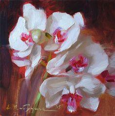 "Daily Paintworks - ""White Orchid"" - Original Fine Art for Sale - © Elena Katsyura"