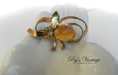 Antique/Vintage Copper Ribbon/Bow by PegsVintageJewellery on Etsy