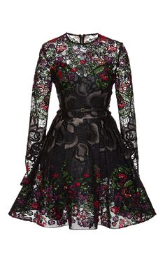 Embroidered Floral Guipure Short Dress by Elie Saab in Viscose - Elie Saab Pre- 2015 Fall Collection