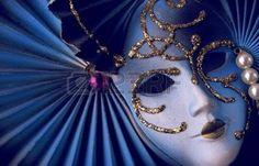 mascara veneciana: Máscara veneciana azul Foto de archivo