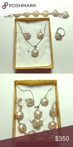 Real Pearl Set Real pearl from Philippines, one set including bracelet, earrings, ring,  and necklace. Ring size is 7 (but it can be resized) Beautiful piece! These are real pearl not plastic! Ranging $600 to $1,000 at Malls. Specially made from silver coins. Cheaper on Ⓜ️ercari. Jewelry