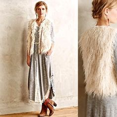 """Anthropologie First Frost Vest  Statement vest that is oh so fun! worn 1x. the top of our fall must-have, yes-please list: the ever-versatile vest. Hei Hei's faux-fur version is the perfect way to warm up everything from maxi dresses to basic tees. By Hei Hei Tie front Acrylic; acrylic lining Dry clean Imported Regular: 22""""L Petite: 20.25""""L Anthropologie Jackets & Coats Vests"""
