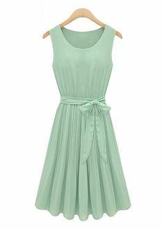Traditional Tank Pattern Sheared Waist Pleated Dress - Green