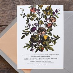 Flora Wedding Invitation by hellotenfold on Etsy. too expensive but like the design,.