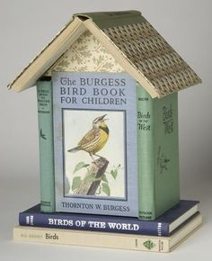 "bird house made of books....eeee bby gum I love stuff like this. It reminds me of the ""book"" shelf my boyfriend made"
