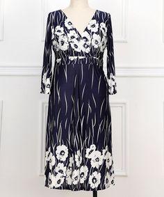 Look what I found on #zulily! Blue & White Floral Surplice Dress - Plus #zulilyfinds