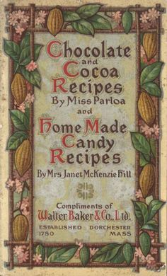 The cover of one of the earliest books of chocolate recipes. Published 1780 in America, made available online by the Project Gutenberg (gutenberg.net). Kind of like the way they illustrate it with cocoa pods, flowers & leaves, whereas today hardly anyone recognises the original plant, so advertisors use pix of choc bars instead