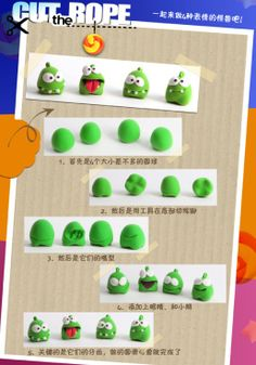 DIY Cut the Rope om nom app game pastel fondant sugar paste clay