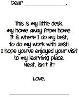Open House Poem/Letter to Parents -students copy it on a writing template.  They leave this poem on their desks for their parents to see.  I lay an envelope and stationary on the students' desks so parents can write a note back to them.