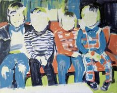 """Boys on Couch,"" original figurative painting by artist Cécile Vrinten (Netherlands) available at Saatchi Art #SaatchiArt"