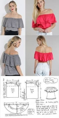 DIY: Off-the-Shoulder Ruffle Top by Trash to Couture Trash To Couture, Sewing Clothes Women, Free Clothes, Diy Clothes, Clothes For Women, Crochet Clothes, Dress Sewing Patterns, Sewing Patterns Free, Clothing Patterns