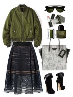 """Rotita Pocket Embellished Long Sleeve Army Green Jacket"" by thestyleartisan ❤ liked on Polyvore featuring self-portrait, Casadei, Balenciaga, Byredo, Urban Decay, Clinique, Sigma Beauty and Gogreen"
