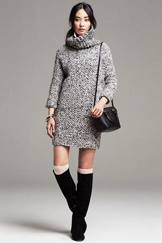 30 Sweaterdresses To Beat The Winter Blues #refinery29  http://www.refinery29.com/sweater-dress#slide-11  This chunky knit is just as good as any warm fireplace....