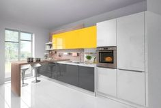 Grey White Yellow Gloss Kitchen