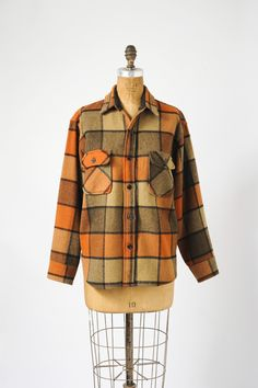 Vintage Men's Wool Plaid Shirt Jacket - 1940's to 1950s. $135.00, via Etsy.
