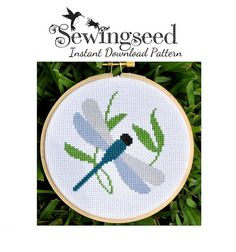 Simple Dragonfly Cross Stitch Pattern Instant Download