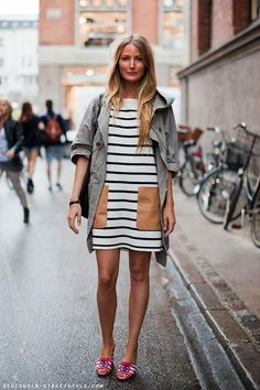 LOVE the leather pockets on this stripe shift dress.