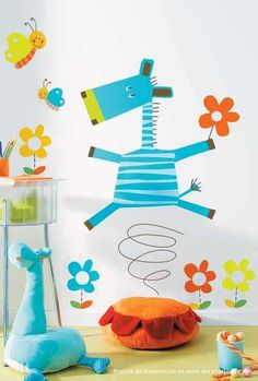 vinilos-infantiles-girafa-azul