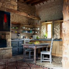 Discover kitchen design ideas on HOUSE - design, food and travel by House & Garden. An artist's rustic barn kitchen with range cooker. Kitchen ideas, design and inspiration from world's best interior designers. Rustic Country Kitchens, Rustic Kitchen Design, Cottage Kitchens, Kitchen Designs, Earthy Kitchen, Cosy Kitchen, Country Homes, Barn Kitchen, Stone Kitchen