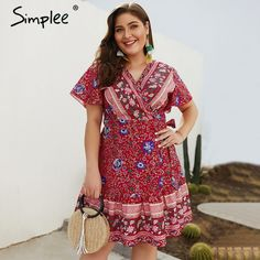 Women's V-Collar Short-Sleeved Broken Flower Printing Large Dress mini dress casual mini dress outfit casual plus size mini dresses plus size summer mini dresses cheap plus size mini dresses plus size nightclub dresses Mini Dress Formal, Boho Mini Dress, Wrap Dress Floral, Plus Size Nightclub Dresses, Plus Size Mini Dresses, Casual Dresses, Fashion Dresses, Curvy Dress, Short Sleeve Dresses