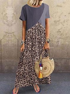 Casual Animal Printed Patchwork Dress Fashion girls, party dresses long dress for short Women, casual summer outfit ideas, party dresses Fashion Trends, Latest Fashion # Vintage Dresses, Nice Dresses, Casual Dresses, Ladies Dresses, Maxi Dresses, Party Dresses, Leopard Dress, Patchwork Dress, Colorblock Dress