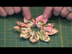 Kanzashi Flowers: Layers of petals - YouTube - I didn't know that there is a template for this by Clover