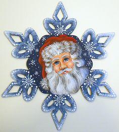 Blue Santa Snowflake Painted wood ornament by Jillybean Fitzhenry… Christmas Ornaments To Make, Blue Christmas, Christmas Projects, Holiday Crafts, Christmas Decorations, Xmas, Santa Paintings, Christmas Paintings, Painting Snowflakes