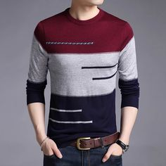 your order Complete Casual Sweaters, Red Sweaters, Pullover Sweaters, Mens Striped Sweater, Striped Sweaters, Stripes Fashion, Sweater Fashion, Fashion Brand, Men's Fashion