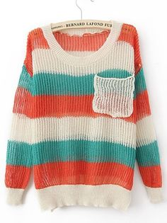 Red Green Round Neck Long Sleeve Striped Pockets Cotton Blends Sweaters