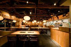 DESIGN WORKS | 【CALM-DESIGN(カームデザイン)】店舗デザイン/設計デザイン/飲食店プロデュース Japanese Restaurant Design, Ramen Restaurant, Hot Pot, Grilled Meat, Track Lighting, Interior And Exterior, Ceiling Lights, Building, Sushi