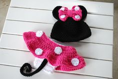 Crochet Hot Pink Minnie Mouse Beanie/Diaper Cover Set/Photography Prop/Baby Shower Gift/Infant Halloween Costume on Etsy, $30.00