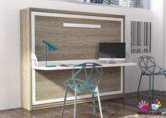 Cama abatible horizontal de matrimonio con escritorio modelo Sinkro.