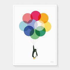 'Mr Penguin Balloon' Print