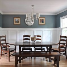 """Learn how to add elegance and character to your dining room with a DIY board and batten project with an upscale twist. See how cove moldings can take your board and batten from """"that's nice,"""" to """"OOO-LA-LA. Dining Room Colors, Dining Room Walls, Living Room, Home Renovation, Home Remodeling, Dining Room Wainscoting, Up House, Board And Batten, Cottage"""