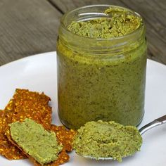 Pumpkin-Sunflower-Flax Seed Butter Makes about 1 cups 1 cup raw pumpkin seeds cup raw sunflower seeds cup ground flaxseed About . Pumpkin Seed Butter, Toasted Pumpkin Seeds, Butter Recipe, Vegan Butter, Pesto, Peanut Butter Alternatives, Pb And J Sandwiches, Nutrition, Raw Food Recipes