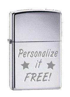 Zippo Custom Lighter - Free Engraving, High Polished CHROME SILVER, 250