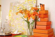 Orange Hermes gift boxes --- gift them or decorate with