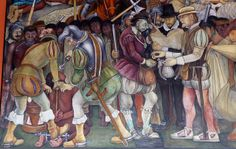 Diego Rivera mural in the National Palace, Mexico City  		The arrival of Hernan Cortes and the Spanish into Mexico