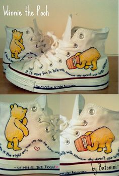 My first custom shoes! ♥ ♥ ♥ I used Sharpies and acrylic paint . The quotes i used (from Winnie the Pooh): - It is mo. My custom Converse Disney Painted Shoes, Painted Converse, Painted Canvas Shoes, Custom Painted Shoes, Hand Painted Shoes, Custom Shoes, Disney Converse, Converse All Star, Disney Shoes