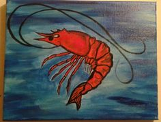 Check out this item in my Etsy shop https://www.etsy.com/listing/228894155/striking-red-shrimp-painting-colorful