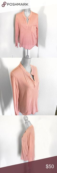Wildfox Blush Pink Henley V-Neck Shirt Size Small Wildfox Blush Pink Henley. Plain, long sleeve, open vee neck tee. Oversized and soft. Cotton-Polyester blend. Machine wash. Size Small. Wildfox Tops Tees - Long Sleeve